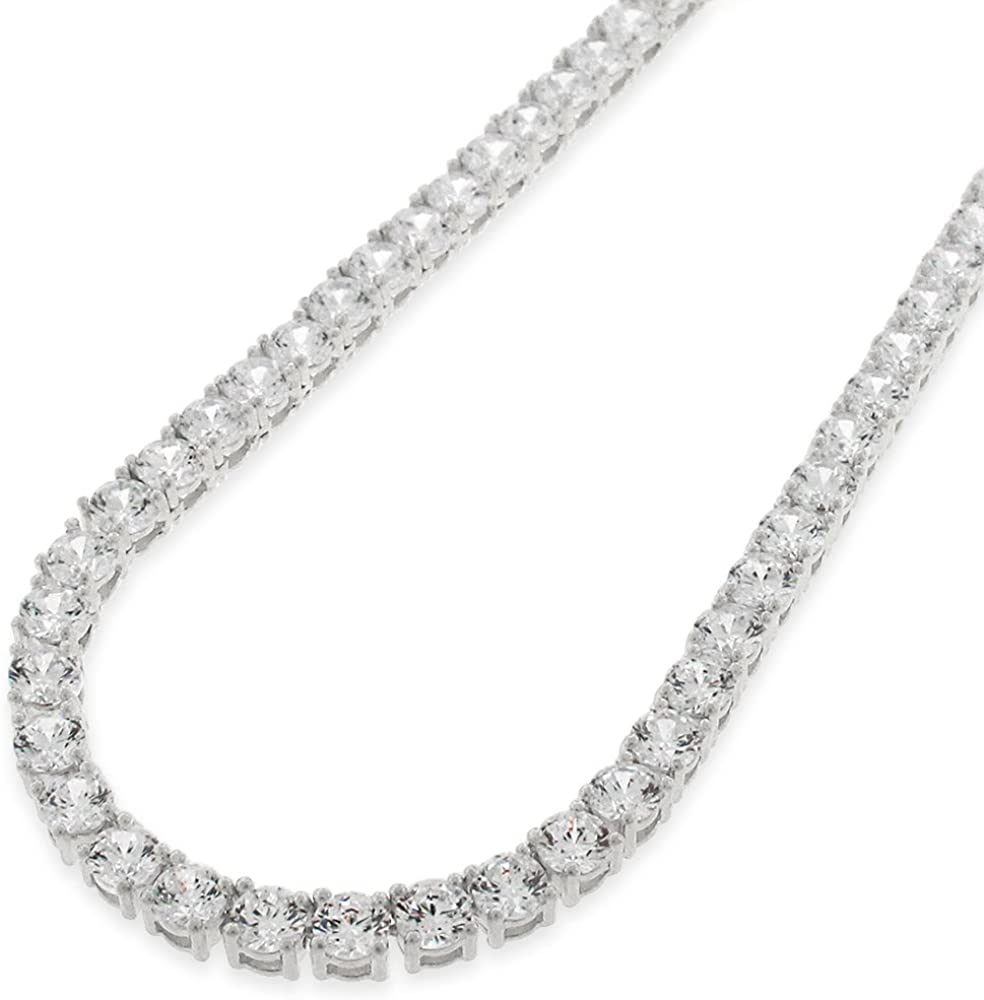 NYC Sterling Unisex Sterling Silver 4mm Cubic Zirconia Tennis Necklace