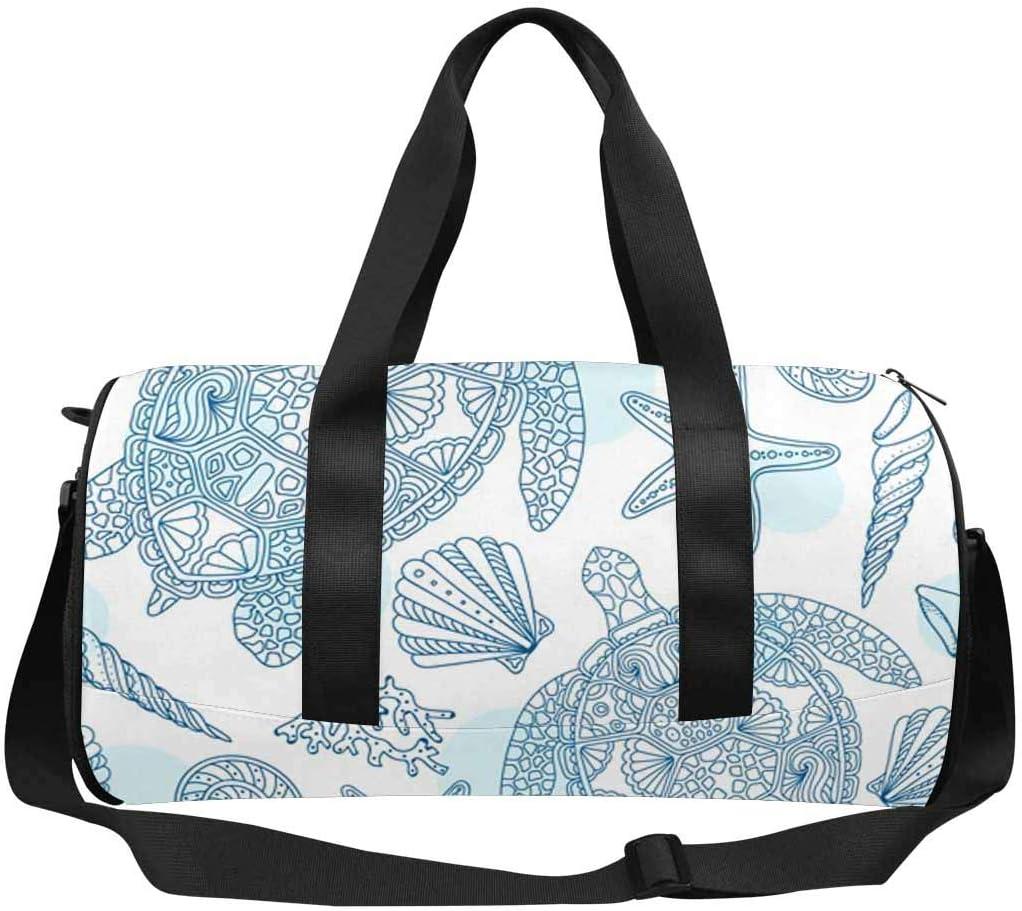 INTERESTPRINT Summer Turtle Seastar Travel Duffle Bag Sports Lightweight Luggage Duffel