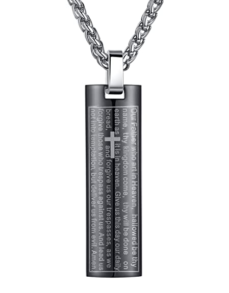 Fine Jewelry Mens Stainless Steel Lords Prayer Pendant Necklace s3sYZY