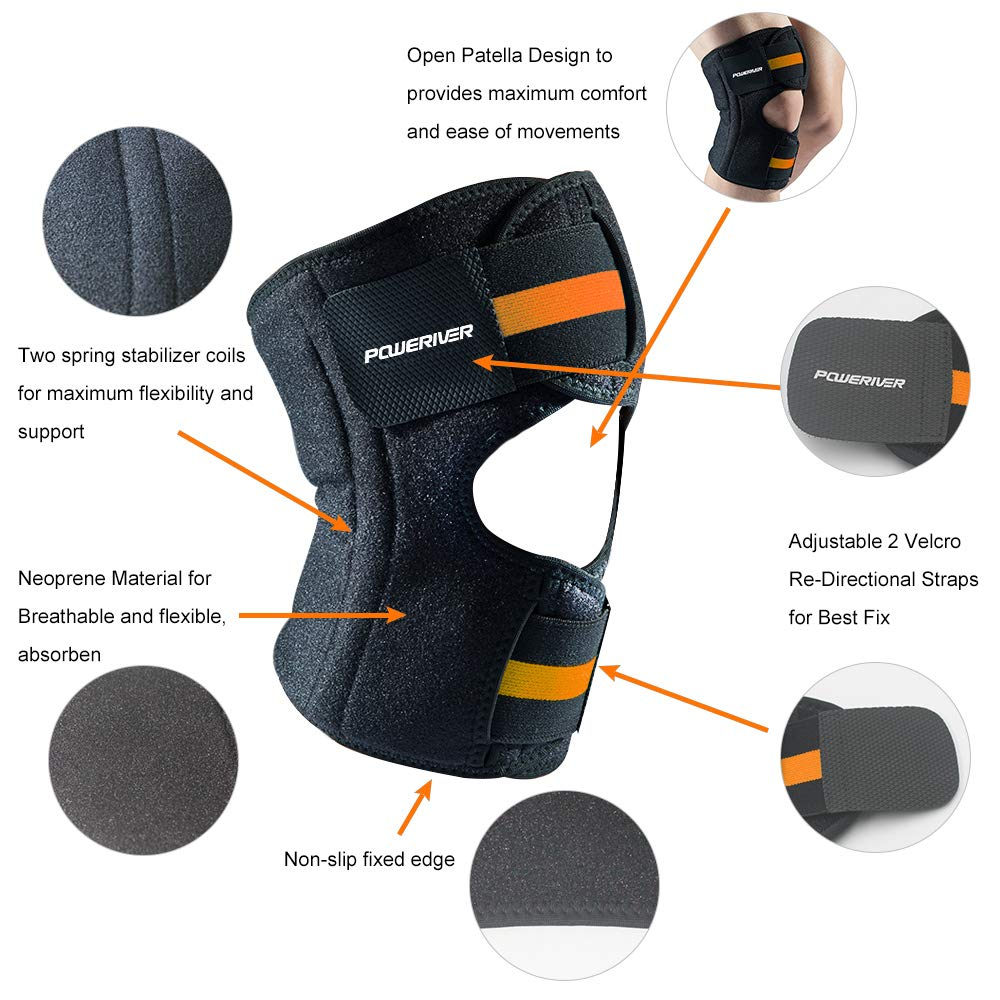 Knee Support Breathable Adjustable Knee Brace for Meniscus Tear, Arthritis, ACL, MCL, LCL, PCL, Recovery and Sports (Black/Orange, Large(10.24