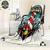 YOYI-HOME Lightweight Summer Duplex Printed Blanket,Trippy Art Lighthouse Inside Circular Frame Sailor Navigation Nautical Maritime Print Multi Bed,Sofa, Air-Conditioner Room /W47 x H59
