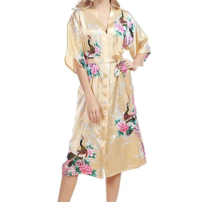 Hzjundasi Mujer más el tamaño Ropa de dormir Seda Kimono Robes Pavo real Impresión Manga corta Camisón Satín Nightwear Estilo largo Bata de baño Dressing ...