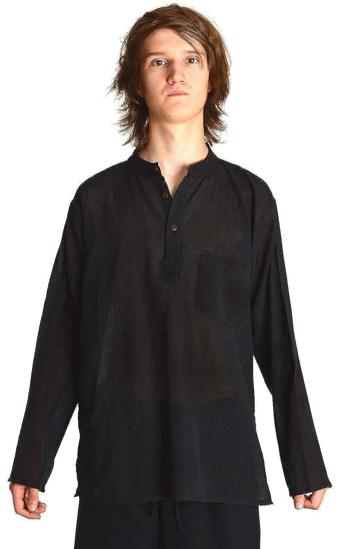 TALLA L. HEMAD Camisa de pescador - Nepali Kurta - Algodón ligero – S-XXXL Negro, Beige, Verde, Azul