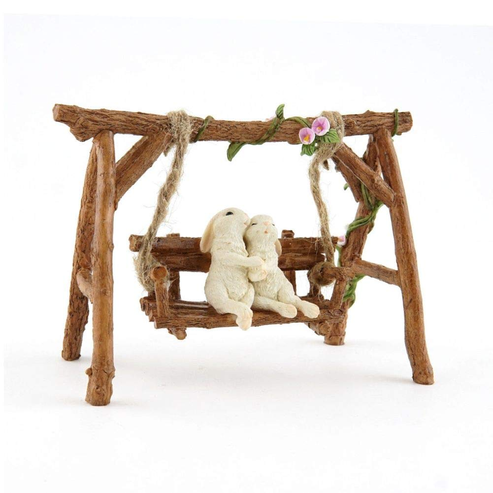 Fairy Garden Mini - Rabbit Lovers on Swinging Garden Bench