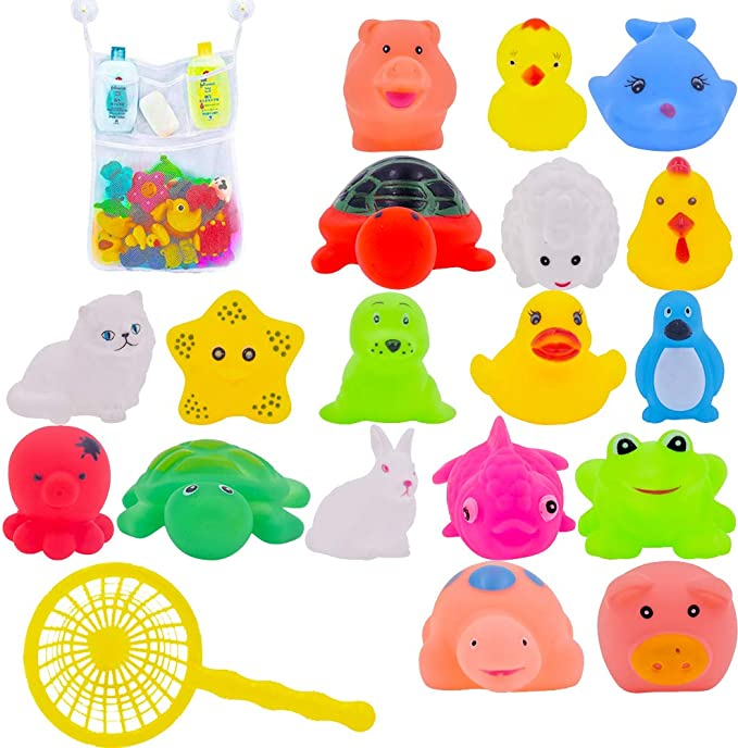 Image of 10Pcs Juguete Baño Bebe,Juguetes Animados con Sonidos Toy Diverdidos Lindos para Agua Piscina Baño,Goma Flotante Floating Baby Bath Toys con baño Sucker Mesh Bolsa de Almacenamiento para bebés o niños