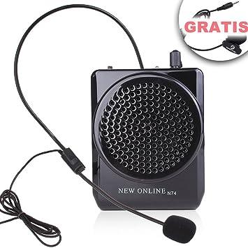 N74 Amplificador de Voz negro Micrófono Altavoz 15watts Portátil para profesores, entrenadores, Guía: Amazon.es: Oficina y papelería