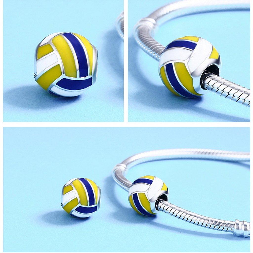 PAHALA 925 Sterling Silver Love Ball Volleyball Enamel Charm Bead