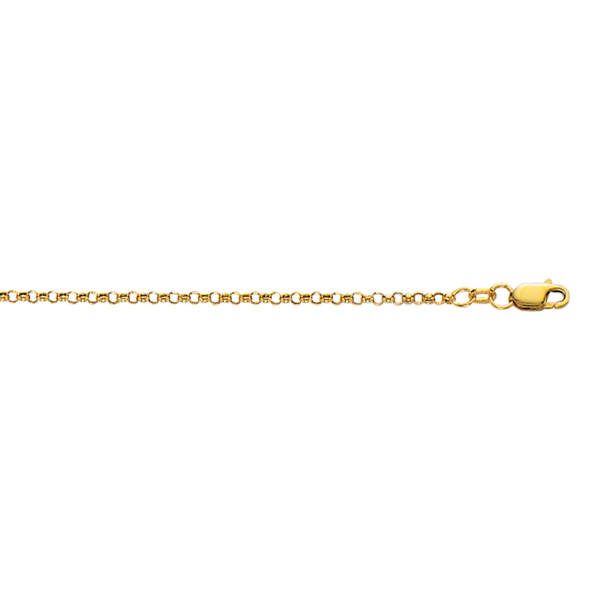 10k Yellow Gold 10 Inch 2.3mm Rolo Anklet Bracelet Lobster-clasp