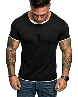 5c52a8cf nensiche Summer Casual Short Sleeve T-Shirt Gym Training Bodybuilding Muscle  Fitness Workout…