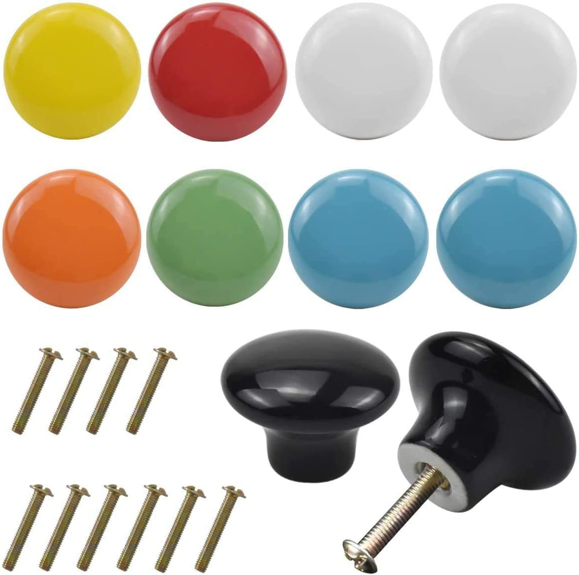 Kissral 10PCS Colorful Cabinet Door Knobs, 32mm Round Ceramic Drawer Pull Handle, Cute Kitchen Cabinet Cupboard Drawer Door Knobs Set, Door Furniture Cabinet Knobs for Kids Children Bedroom Home