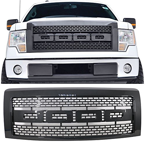 Grille Fits 2009-2014 Ford F150 | Raptor Style ABS Plastic Carbon Fiber Look Front Bumper Grill Hood Mesh by IKON MOTORSPORTS | 2010 2011 2012 2013
