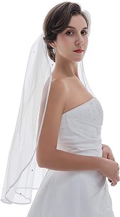Bridal Veil White 1 Tier Shoulder Length Scattered Rhinestones Rhinestone Edge
