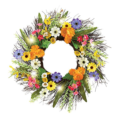 Colorful Daisy Spring Floral Front Door Twig Wreath with Lights, 18