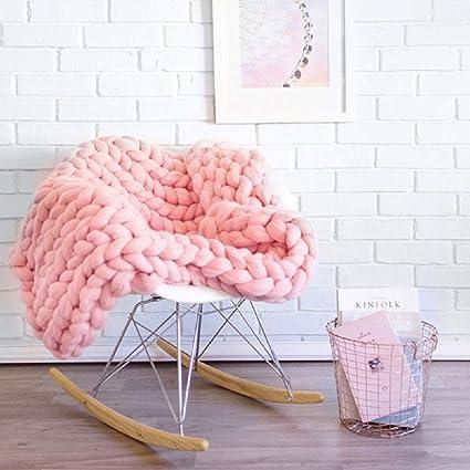 Amazon Clootess Chunky Knit Blanket Merino Wool Hand Made Throw Boho Bedroom Home Decor Giant Yarn Pink 40x40 Kitchen