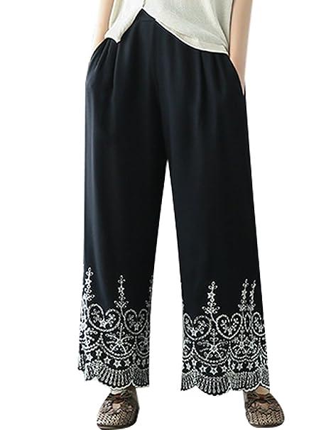 Youlee Mujeres Verano Cintura Elástica Bordado Pierna Ancha Pantalones M   Amazon.es  Ropa y accesorios 9c872265e06