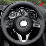Eiseng Steering Wheel Cover for Mazda 6 2014 2015 2016 / Mazda 3 2014 2015 2016 / CX-3 2016 2017 / CX-5 2013 2014 2015 2016 Custom Fit DIY Car Genuine Leather Interior Accessories stitch on wrap 15 inches (Black Thread)