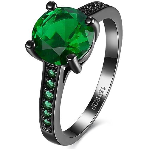 BEMI negro clásico de 18 K chapado en oro las mujeres anillo promesa boda banda compromiso