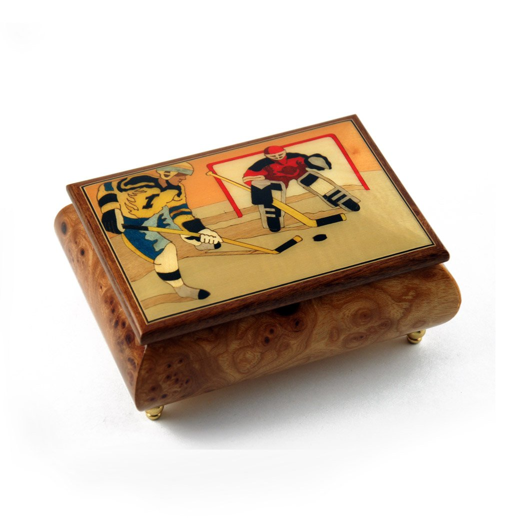 Sports Theme Wood Inlay: Hockey - Collectible 30 Note Musical Jewelry Box - Love is Blue by MusicBoxAttic (Image #1)