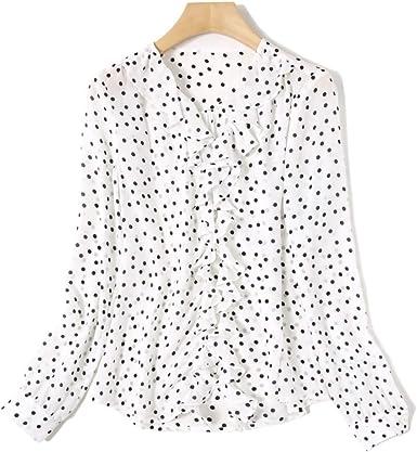 YingDeLi Mujeres Elegante Satén de Seda Onda con Cuello en V Camisa con Volantes Blusa de Manga Larga Blusa de Moda Slim fit Blusa de Seda Casual Top (S): Amazon.es: Ropa y