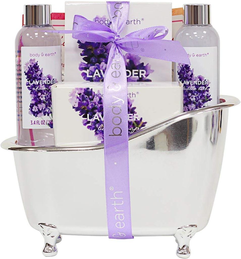 BODY & EARTH Set de regalo de baño para mujer - Set de baño y ducha de 4 piezas Lavender perfumado con gel de ducha, baño de burbujas, jabón de baño y sal de baño, el mejor regalo para ella