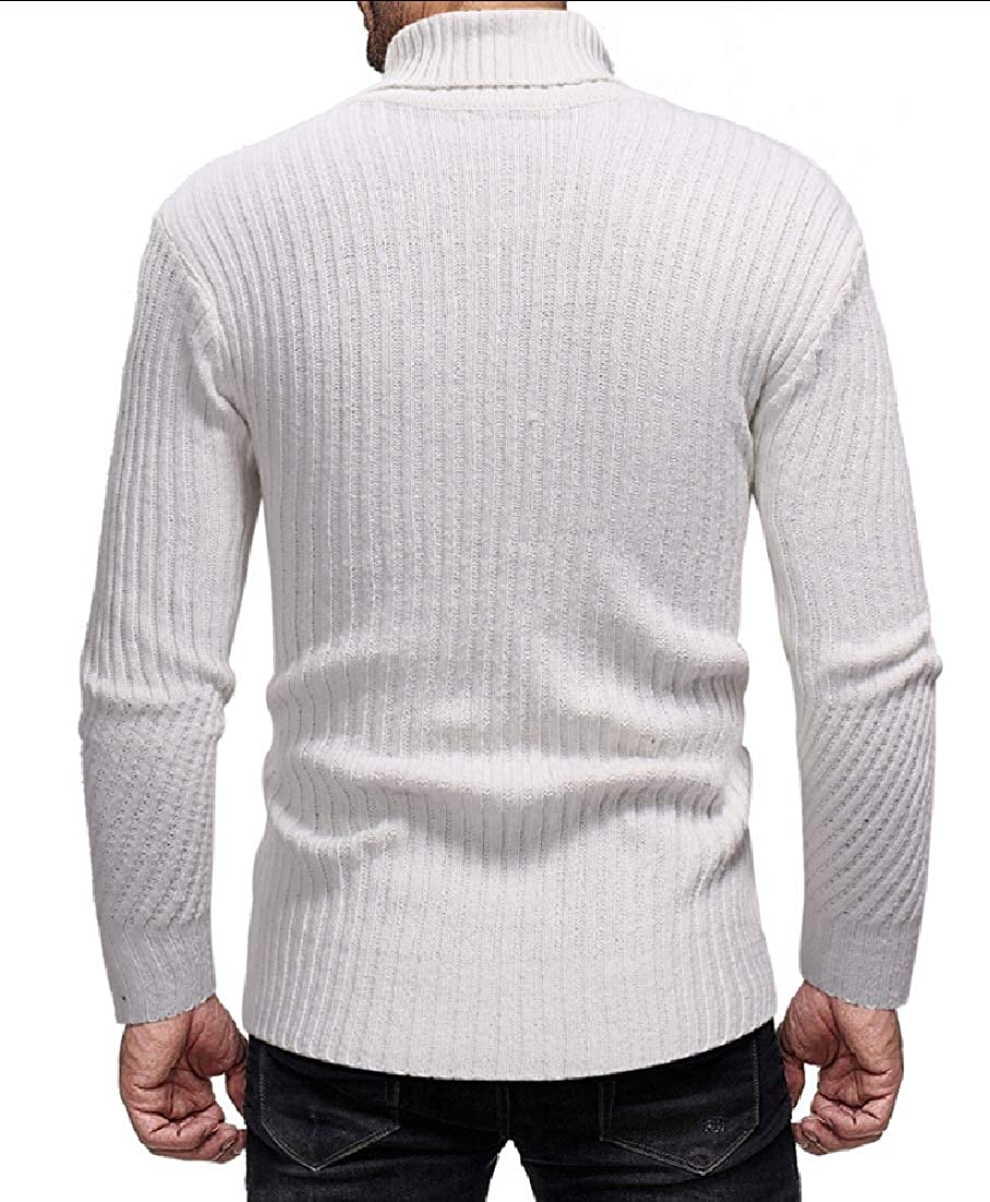 Gocgt Mens Basic Turtleneck Sweater Casual Knitted Pullover Sweaters