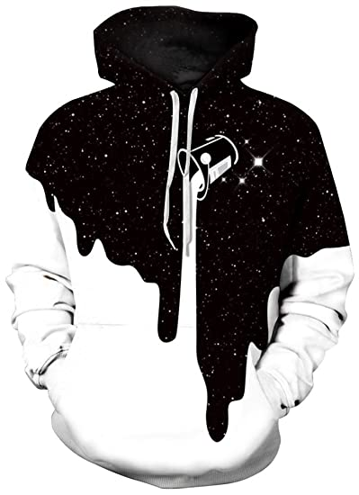Amazoncom Flychen Mens Digital Print Sweatshirts Hooded Top