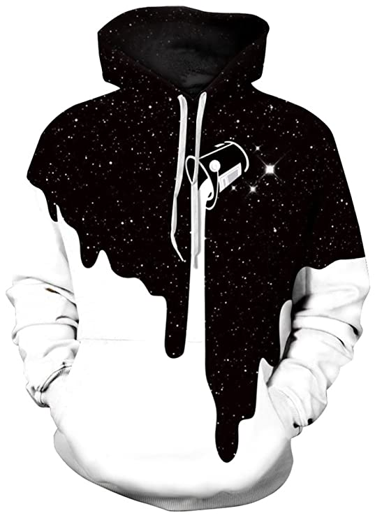 FLYCHEN Men's Digital Print Sweatshirts Hooded Top Galaxy Pattern Hoodie 2XL/3XL Fashion Black White
