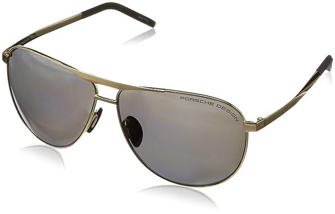 0038bca16eb Image Unavailable. Image not available for. Colour  Porsche Design Men s  P8642 P 8642 B Gold Aviator Polarized Sunglasses 62mm