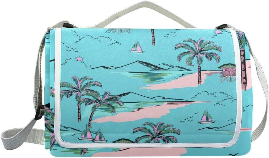 XINGAKA Coperta da Picnic Tappetino Campeggio,Fenicotteri Rosa esotici Tropicali del Fondo d'avanguardia,Giardino Spiaggia Impermeabile Anti Sabbia 18