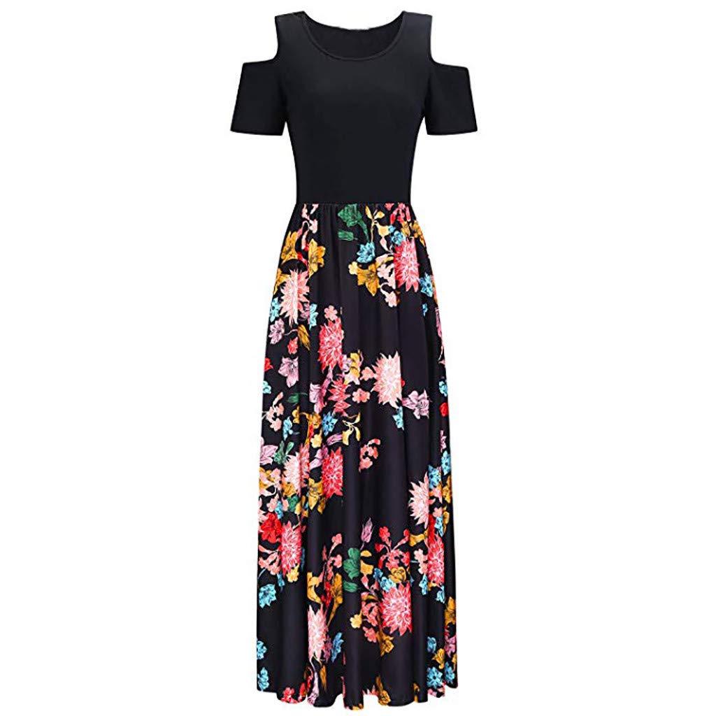 Kekebest Dresses for Womens,Women Cold Shoulder Pocket Floral Print Elegant Maxi Short Sleeve Casual DressMermaidBodycon