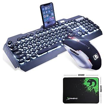 LexonElec Juego de ratón para videojuegos con teclado blanco con cable y retroiluminado con 104 teclas