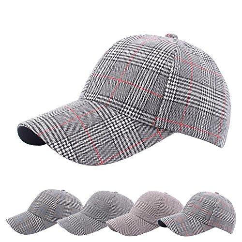 Plaid Ball Cap (Alonea Baseball Hat, Men Women Vintage Twill Plaid Cotton Baseball Cap Vintage Sunshade Dad Berets Hat Bun Sun Caps ❤️4 Pack)