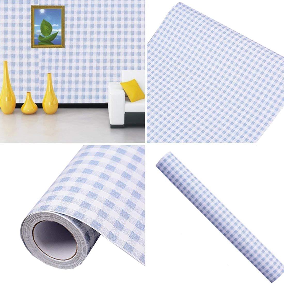 Vichy Bleu adhésifs décoratifs Contact papier laminé étagère et tiroir 45x 198,1cm