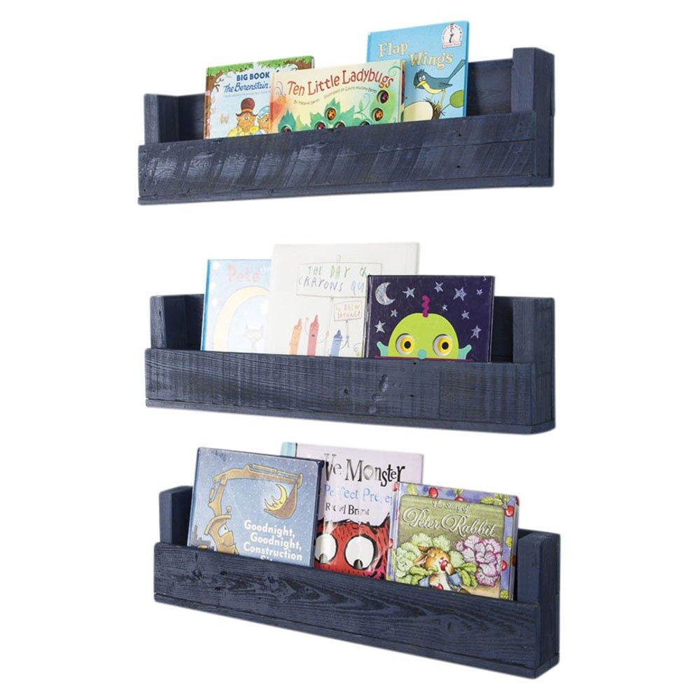 Drakestone Designs Nursery Bookshelves 28 Inch (Set of 3) | Wall Mount | Handmade Rustic Reclaimed Wood (Navy Blue)