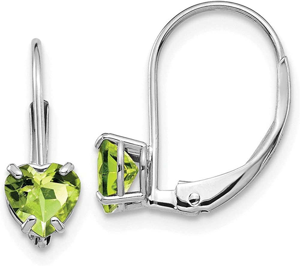 Mia Diamonds 14k White Gold 5mm Heart Peridot Leverback Earrings