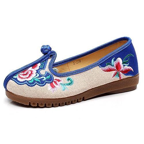 Mocasines Bordados del Bordado del Paño anudante Chino de Las Mujeres: Amazon.es: Zapatos y complementos