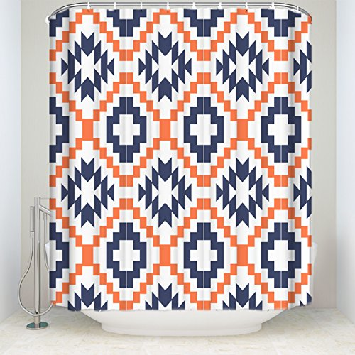 YEHO Art Gallery Shower Curtain Square Pixel Mosaic Geometric Pattern Blue and Orange Funny Soft Comfort Shower Curtain with Hooks by 60x72 - Mosaic Stripe Blue