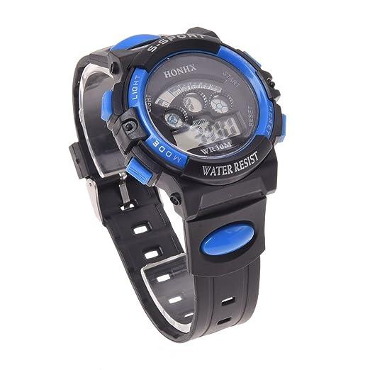 Reloj de hombre - HONHX Clasico Reloj de pulsera de goma LED Digital de chico de hombre Azul: Amazon.es: Relojes