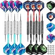 CyeeLife Steel Tip Darts Set 18 Grams with PVC Dart shafts(4 Colors),Black&Sliver Barrels,Home Darts