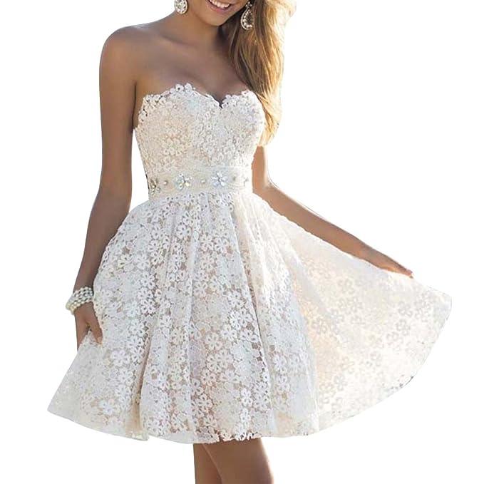 ZiXing Vestido Verano para Mujer Corto de Encaje Vestidos de Coctel Vestido Fiesta Blanco Large