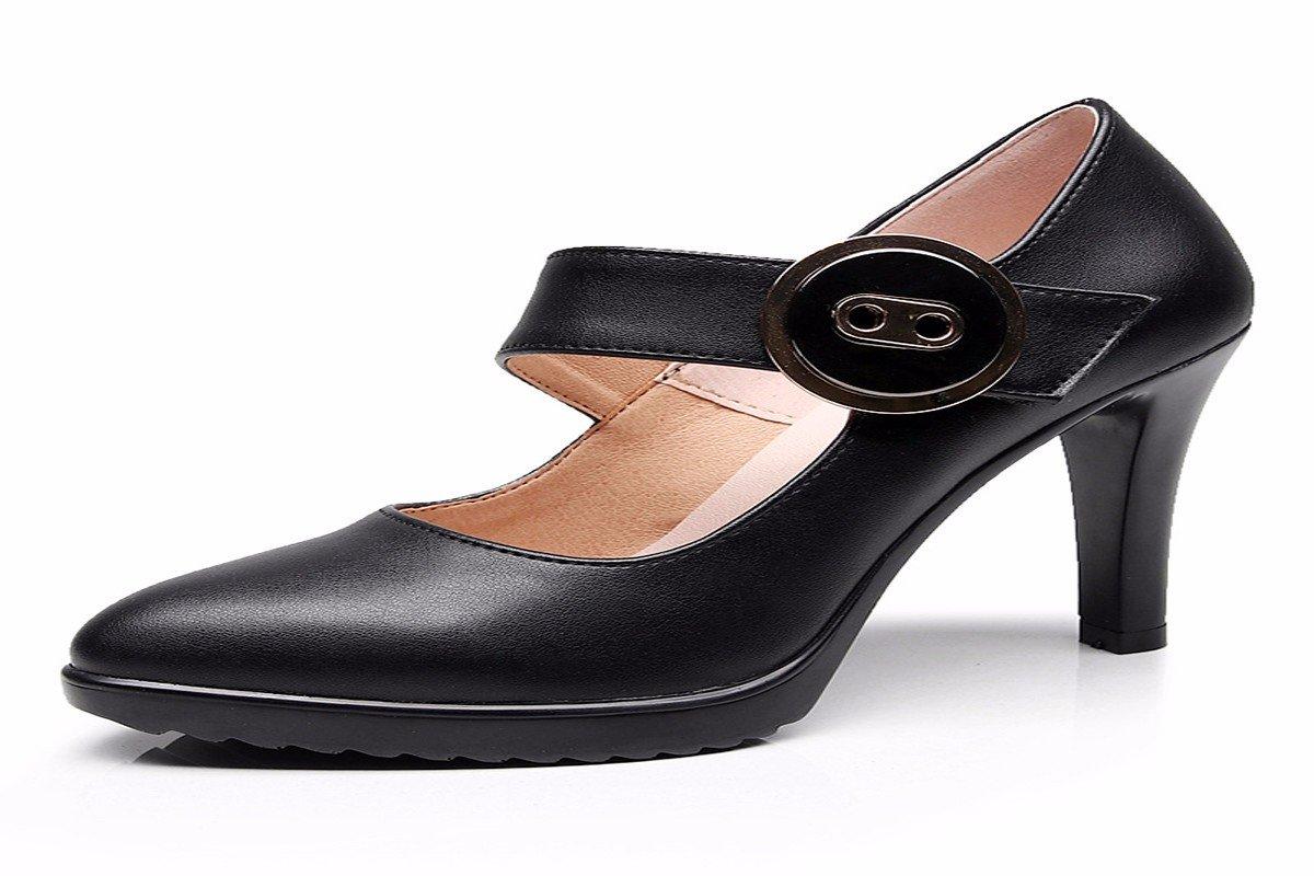 KPHY Damenschuhe/Schwarz Cheongsam Auftaucht 18Cm Hohe Schuhe Leder Schuhe mit Modell Wasserdichte Tabelle mit Bereits Frauen Sexy Schuhe. black