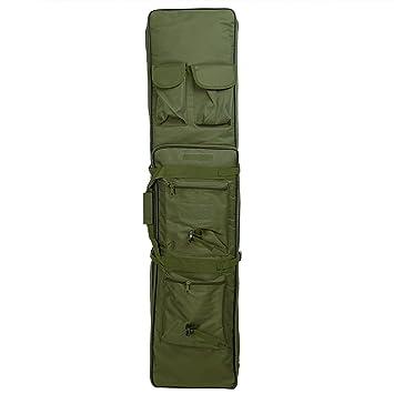 38 inch táctico impermeable doble Rifle estuche mochila Militar Doble Pistola bolsa con correa para el hombro acolchada y bolsillos, verde: Amazon.es: ...
