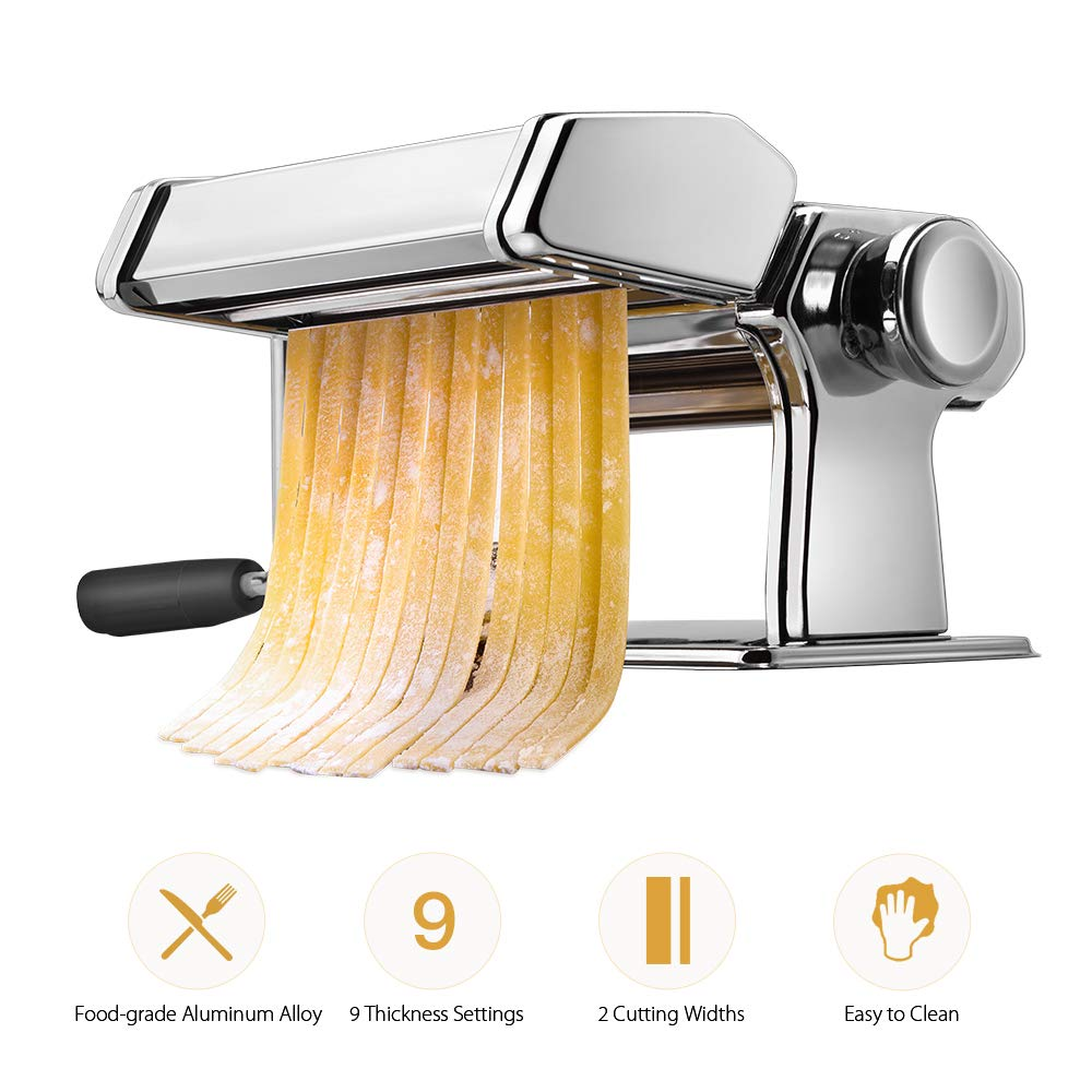 Pasta Machine, iSiLER 9 Adjustable Thickness Settings Pasta Maker, 150 Roller Noodles Maker with Washable Aluminum Alloy Rollers and Cutter, FDA Approved for Pasta, Spaghetti, Fettuccini, Lasagna