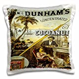 BLN Vintage Trade Cards Ad Art Reproductions - Dunhams Concentrated Cocoanut Ocean Scene and Couple by Fireplace - 16x16 inch Pillow Case (pc_180212_1)
