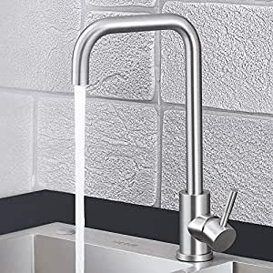 Kitchen Faucet NO.16 LOVER Commercial Utility Stainless Steel Single Handle Kitchen Sink Faucets Brushed Nickel Modern Hot And Cold For kitchen Sink ...