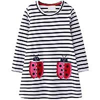 VIKITA Toddler Flower Girl Dress Cotton Short Sleeve Navy Baby Girls Summer Dresses for 2-8 Years