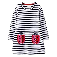 VIKITA Toddler Girl Animal Stripe Cotton Dress Baby Girls Casual Dresses 2-8 Years
