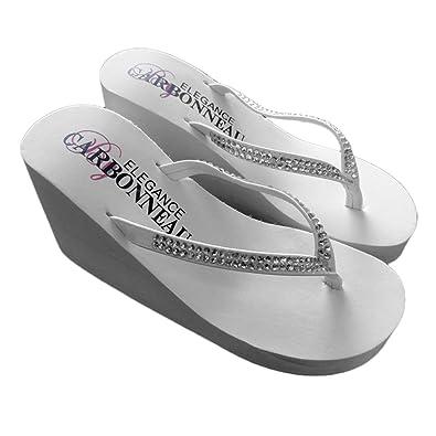 d10b7fe2b Elegance by Carbonneau Crystals Women s High Heel Flip Flop White Foam  Rubber Sandal - 9 M