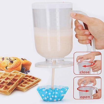 Alpina Dosificador para mezclar dispensador Pastella 900 ml para repostería crepes Muffin Cake Waffle