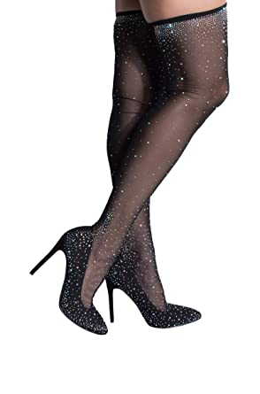 d9ea0d0b188 AKIRA Women s Rhinestone Diamond Studded Nylon Thigh High Sexy Stiletto  Pumps Boots-BLACK 6
